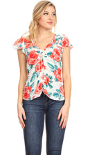 Sakkas Ain Womens Short Sleeve V neck Floral Print Blouse Top Shirt with Ties