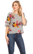 Sakkas Akila  Women 3/4 Sleeve Floral Print Round Neck Low back Blouse Top Casual
