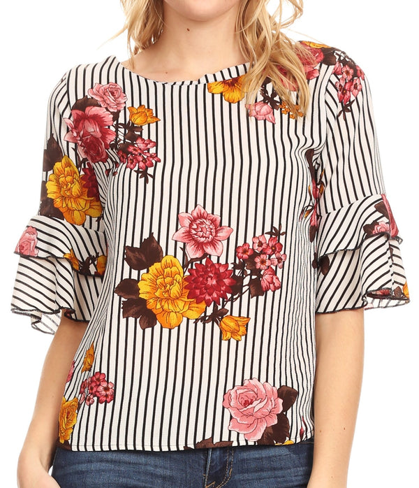Sakkas Akila  Women 3/4 Sleeve Floral Print Round Neck Low back Blouse Top Casual#color_White