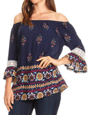 Sakkas Licia Peasant Boho Off-shoulder Top Blouse Floral Paisley with Crochet Lace