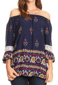 Sakkas Licia Peasant Boho Off-shoulder Top Blouse Floral Paisley with Crochet Lace#color_Blue-multi