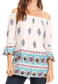 Sakkas Licia Peasant Boho Off-shoulder Top Blouse Floral Paisley with Crochet Lace#color_White-multi/turq