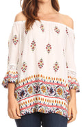 Sakkas Licia Peasant Boho Off-shoulder Top Blouse Floral Paisley with Crochet Lace#color_White-multi/orange