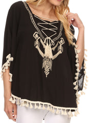 Sakkas Moonla Wide Embroidered Tassel Neck Closure Poncho Tunic Blouse Shirt Top