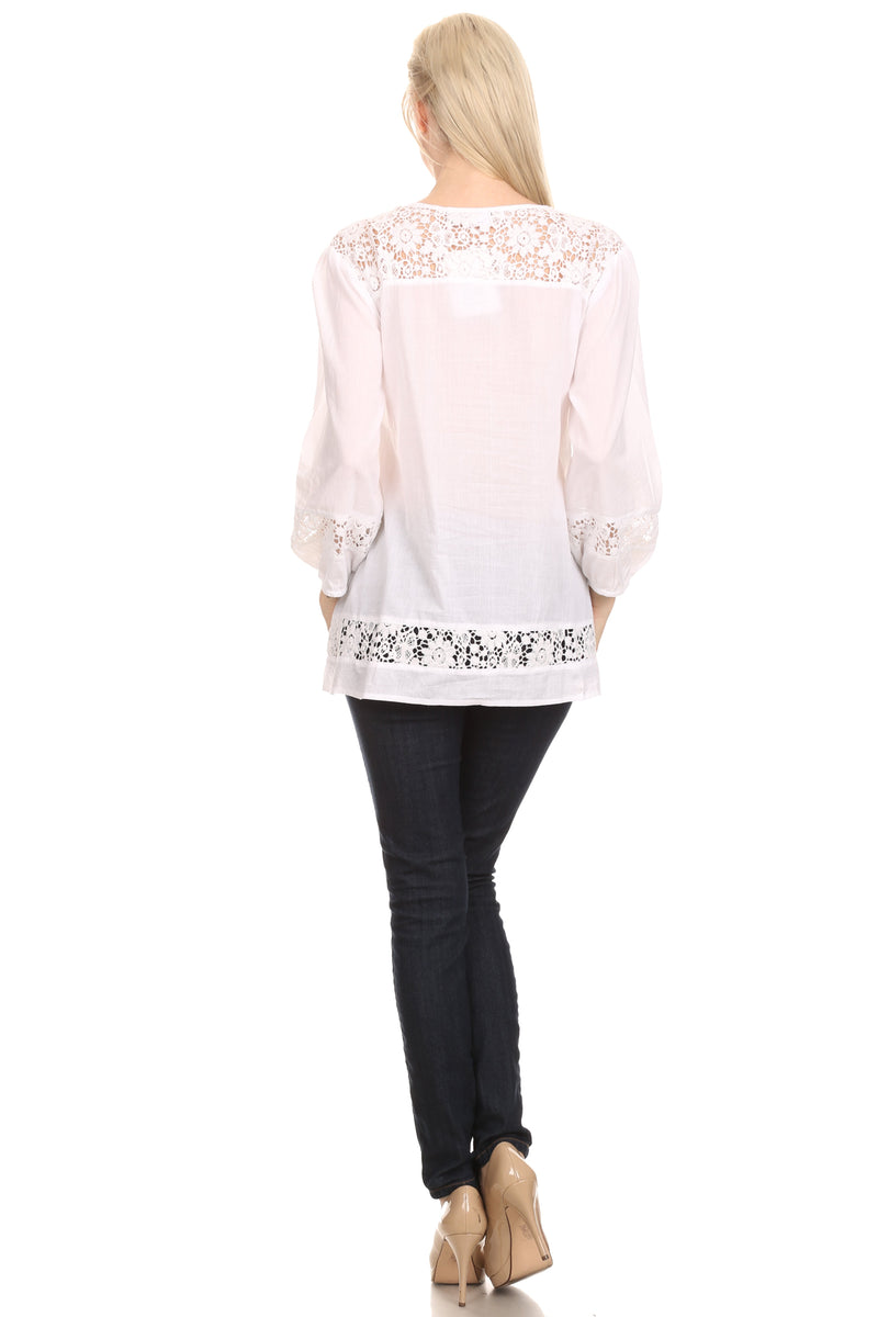 Sakkas Echo Long Lightweight Embroidered Blouse Top With Bell Sleeves