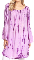 Sakkas Anna Casual Flowy Wide Neck 3/4 Sleeve Light Summer Boho Blouse Top #color_TD-Purple