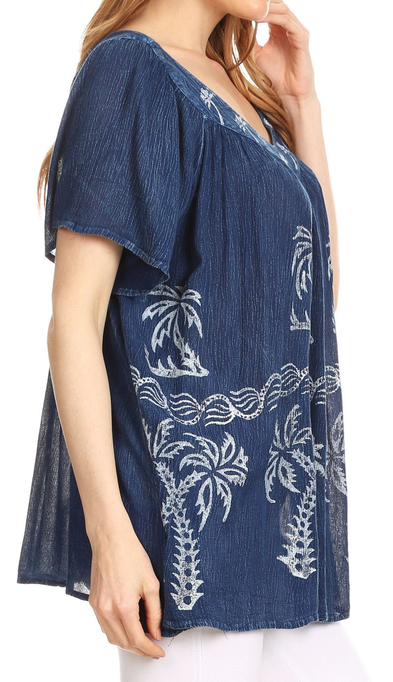 Sakkas Denika Lovely V Neck Short Sleeve Stone Wash Printed Casual  Top Blouse