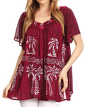Sakkas Denika Lovely V Neck Short Sleeve Stone Wash Printed Casual  Top Blouse #color_Fuchsia