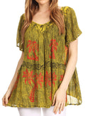 Sakkas Denika Lovely V Neck Short Sleeve Stone Wash Printed Casual  Top Blouse #color_Yellow