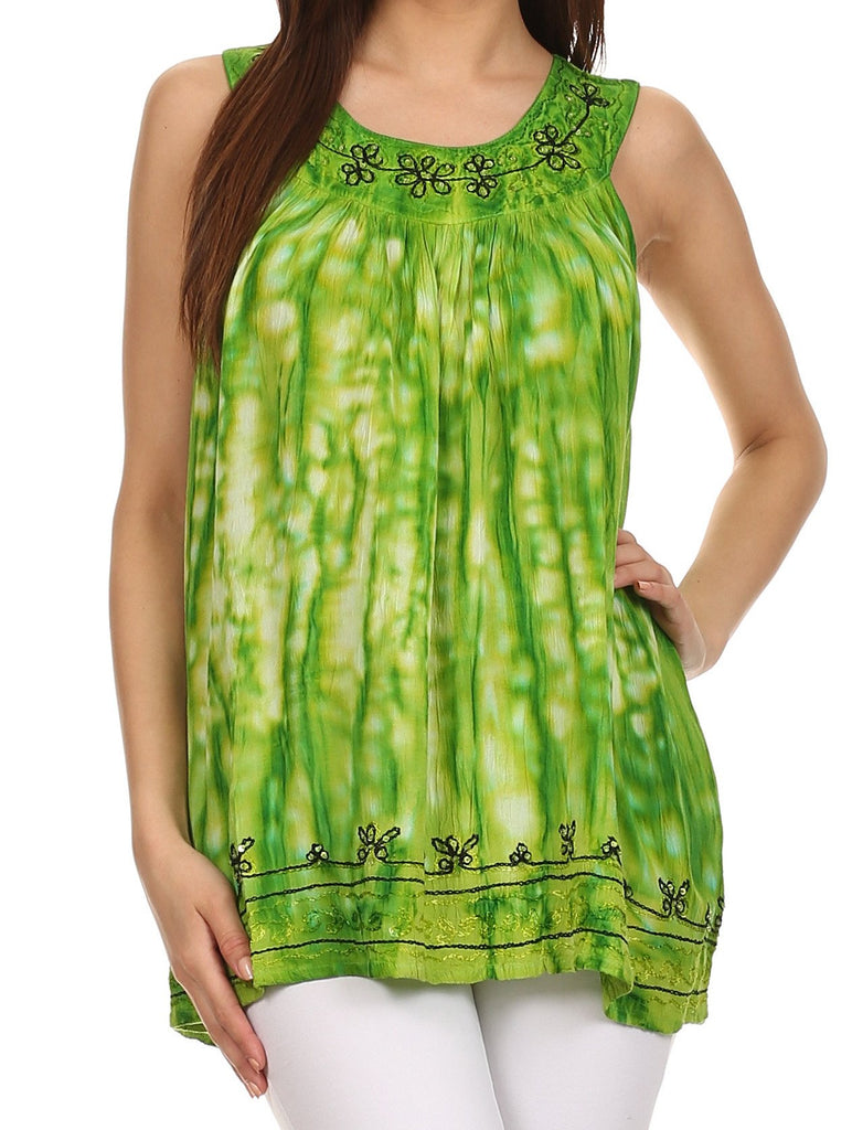 Sakkas Two Tone Market Tank Top with Flower Embroidery
