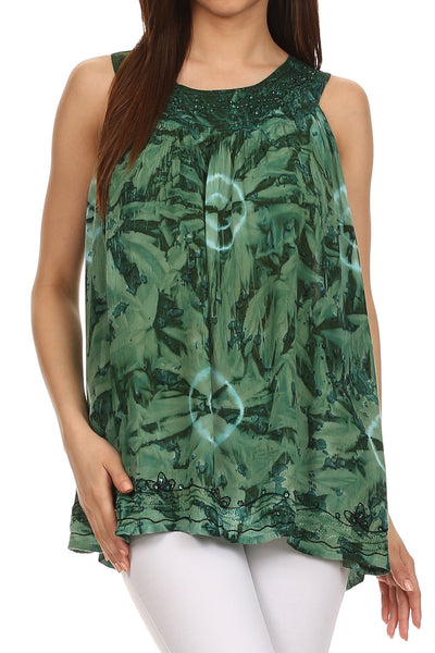 Sakkas Tie-Dye Summer Sky Tank Top with Embroidery and Beading