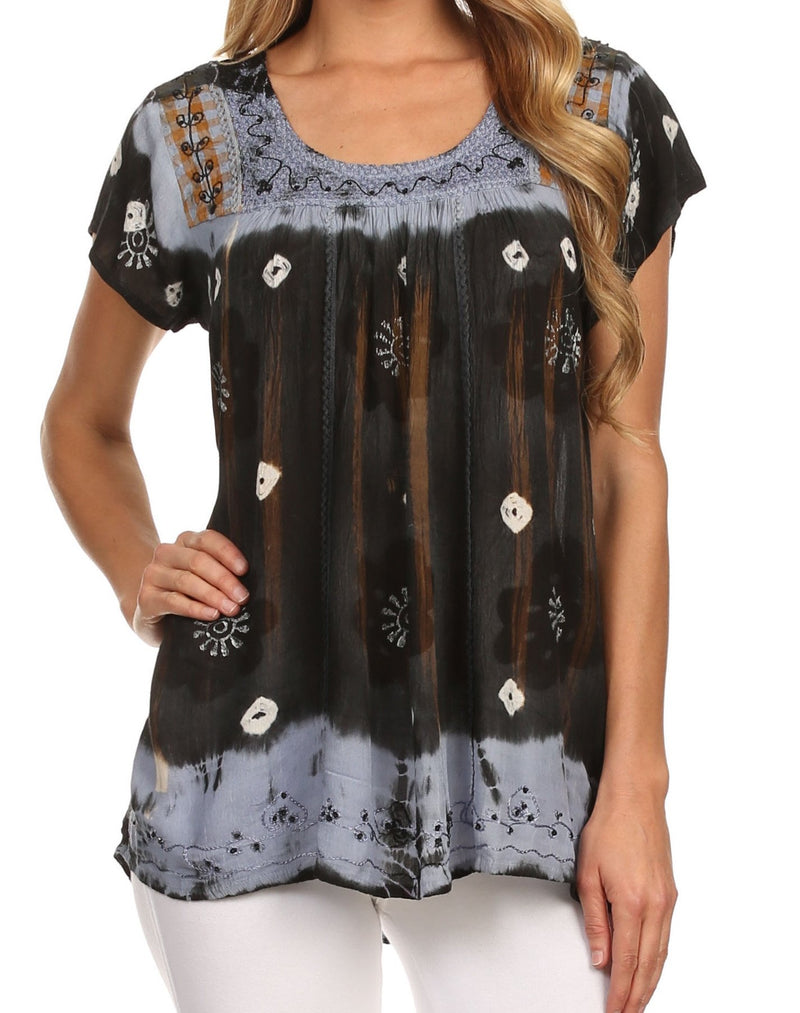 Sakkas Short Sleeve Tie Dye Gingham Peasant Top with Sequin Embroidery