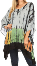 Sakkas Eliana Wide Long Tall Embroidered Tie Dye Ombre Batik Poncho Top Blouse