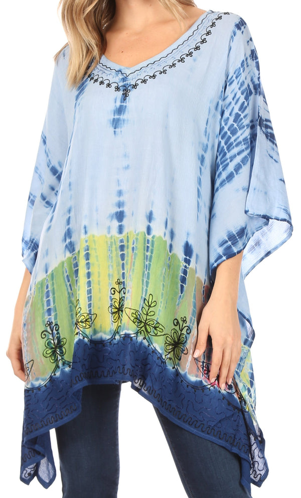 Sakkas Eliana Wide Long Tall Embroidered Tie Dye Ombre Batik Poncho Top Blouse#color_Blue