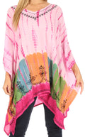 Sakkas Eliana Wide Long Tall Embroidered Tie Dye Ombre Batik Poncho Top Blouse#color_Fuchsia