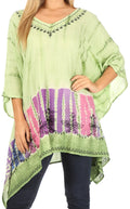 Sakkas Eliana Wide Long Tall Embroidered Tie Dye Ombre Batik Poncho Top Blouse#color_Green