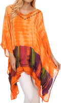 Sakkas Eliana Wide Long Tall Embroidered Tie Dye Ombre Batik Poncho Top Blouse#color_Orange