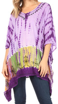 Sakkas Eliana Wide Long Tall Embroidered Tie Dye Ombre Batik Poncho Top Blouse#color_Purple