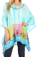 Sakkas Eliana Wide Long Tall Embroidered Tie Dye Ombre Batik Poncho Top Blouse#color_Turquoise