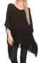 Sakkas Wren Lightweight Circle Poncho Top Blouse With Detailed Embroidery#color_Black