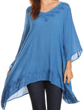 Sakkas Wren Lightweight Circle Poncho Top Blouse With Detailed Embroidery#color_Blue