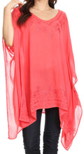 Sakkas Wren Lightweight Circle Poncho Top Blouse With Detailed Embroidery#color_Coral