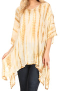 Sakkas Wren Lightweight Circle Poncho Top Blouse With Detailed Embroidery#color_TD-Beige