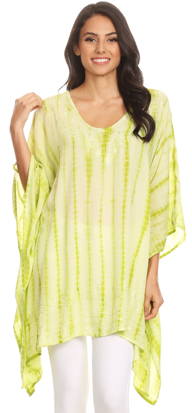 Sakkas Wren Lightweight Circle Poncho Top Blouse With Detailed Embroidery