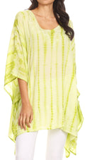 Sakkas Wren Lightweight Circle Poncho Top Blouse With Detailed Embroidery#color_TD-Green