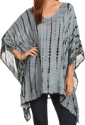Sakkas Wren Lightweight Circle Poncho Top Blouse With Detailed Embroidery#color_TD-Grey