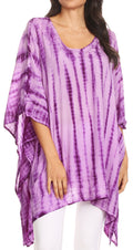 Sakkas Wren Lightweight Circle Poncho Top Blouse With Detailed Embroidery#color_TD-Purple