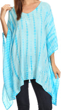 Sakkas Wren Lightweight Circle Poncho Top Blouse With Detailed Embroidery#color_TD-Turquoise