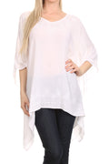 Sakkas Wren Lightweight Circle Poncho Top Blouse With Detailed Embroidery#color_White