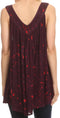 Sakkas Badalea Long Embroidered Sequin Beaded Batik Shirt Printed Tank Top Blouse#color_Burgundy