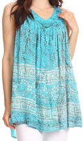Sakkas Badalea Long Embroidered Sequin Beaded Batik Shirt Printed Tank Top Blouse#color_Turquoise