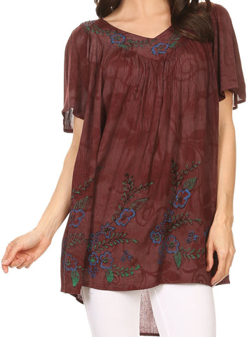 Sakkas Kyla Relaxed Fit Floral Sequin Embroidered V-neck Cap Sleeve Blouse / Top