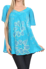 Sakkas Poppy Floral Hand Dyed Dye Pattern Top Blouse With Beaded Sequin V Neck