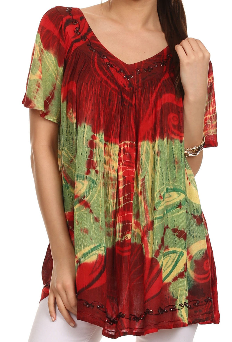 Sakkas Nia Tie Dye Sequin Embroidered V-Neck Cap Sleeve Blouse / Top