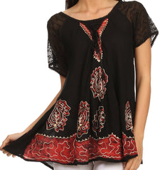 Sakkas Gina Relaxed Fit Embroidered Sheer Cap Sleeves Blouse