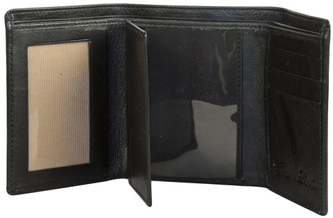 Sakkas Men's Authentic Leather Tri-Fold Wallet with 3 Id Windows with Gift Bag