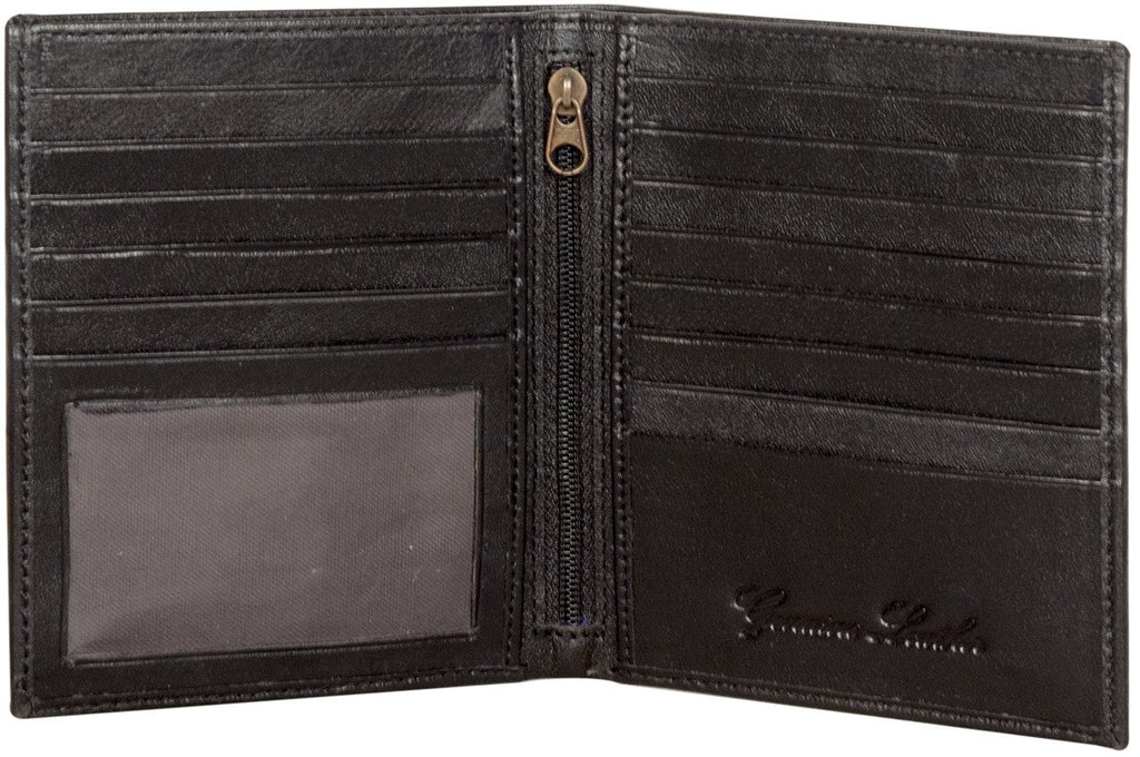 Sakkas Men's Authentic Leather Bi-Fold Wallet with 13 Credit Card Slots with Gift Bag