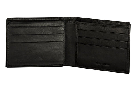 Sakkas Men's Bi-Fold Leather Wallet with 9 Credit Card Slots with Flip Up ID & Credit Card Flap