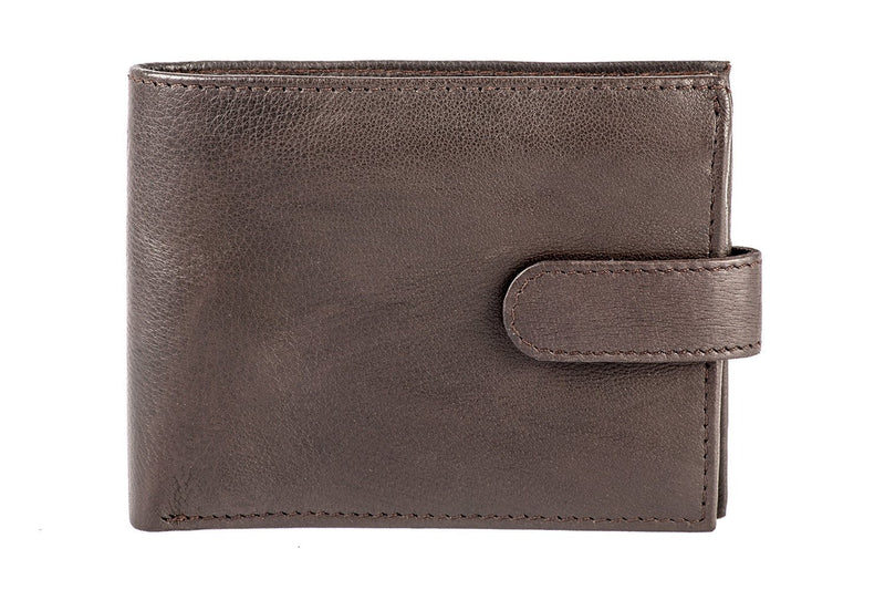 Sakkas Bifold Press Stud Mens Leather Wallet With Gift Bag
