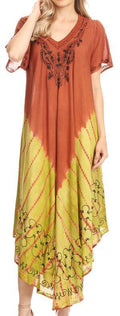 Sakkas Viveka Embroidered Caftan Dress#color_Brown