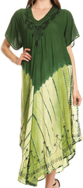 Sakkas Viveka Embroidered Caftan Dress#color_Forest Green