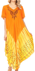 Sakkas Viveka Embroidered Caftan Dress#color_Orange