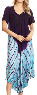 Sakkas Viveka Embroidered Caftan Dress#color_Purple / Turq