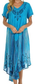 Sakkas Viveka Embroidered Caftan Dress#color_Turquoise
