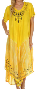 Sakkas Viveka Embroidered Caftan Dress#color_Yellow