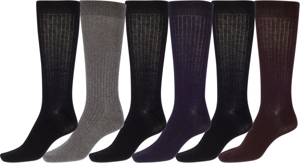 Sakkas Men's Cotton Blend Ribbed Dress Socks Value 6-Pack